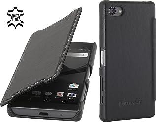 StilGut Book Type avec Clip, Housse en Cuir pour Sony Xperia Z5 Compact. Etui de Protection à Ouverture latérale