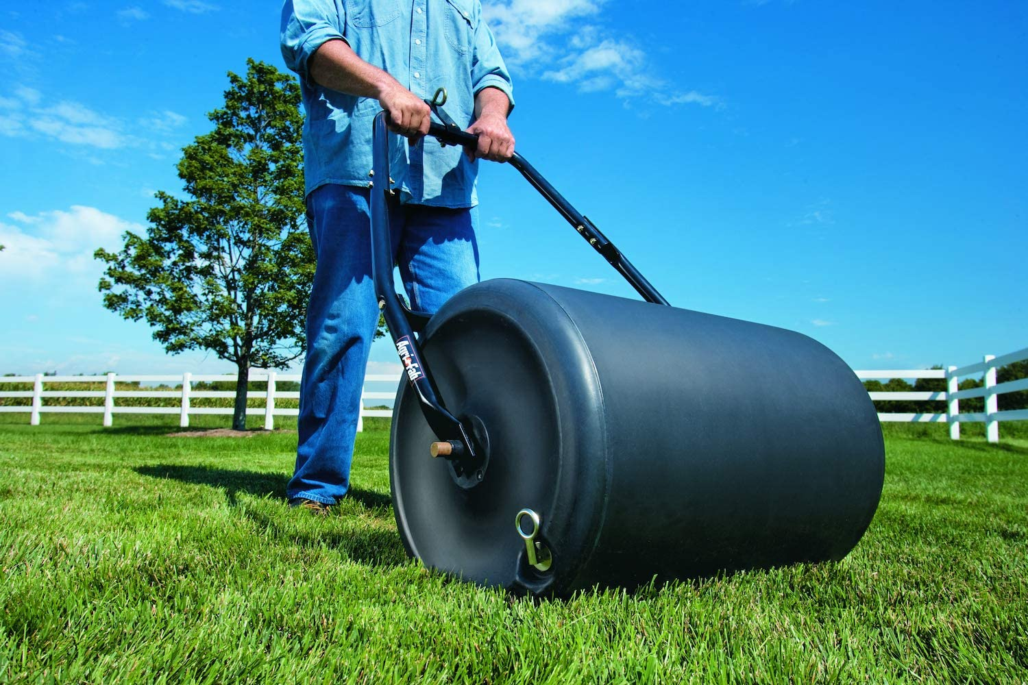 "16/""x 19.5/"" Heavy Duty Poly Push Tow Lawn Roller Poly Roller Black Sturdy Durable"