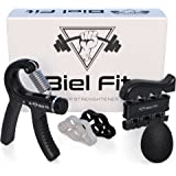 Hand Grip Strengthener Workout Kit (5 Pack) Adjustable Hand Exerciser (22-88 lbs.) Finger Exercise, Finger Resistance Bands, Squeeze Ball + HD VIDEO
