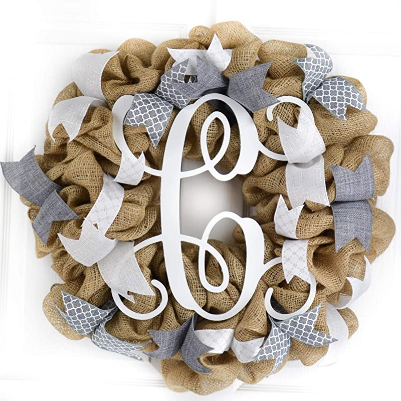 Chevron Burlap Wreath for front door or accent Gray and Natural Red Summer White All Year Fall Winter