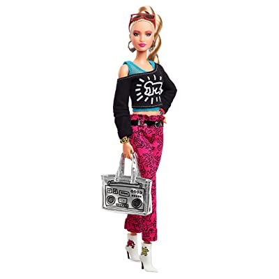Barbie Collector Keith Haring Doll, 11.5-Inch, Wearing Graphic Fashion, with Blonde Hair and Boom Box Purse​​​: Toys & Games