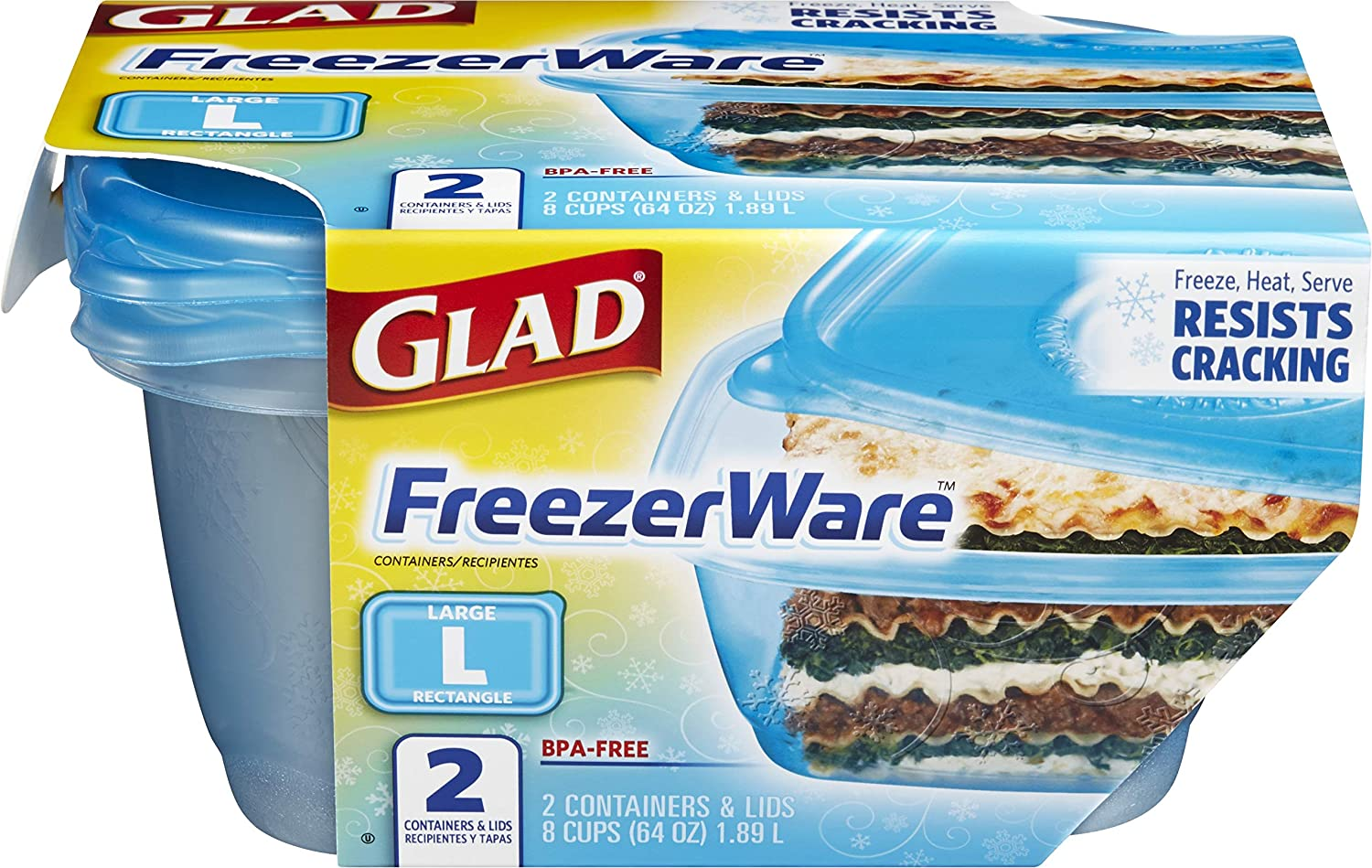 Gladware Freezerware Food Storage Containers, Large Rectangle Holds 64 Ounces of Food, 2 Count Set
