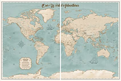 amazon com large push pin world map personalized map on 2 panel