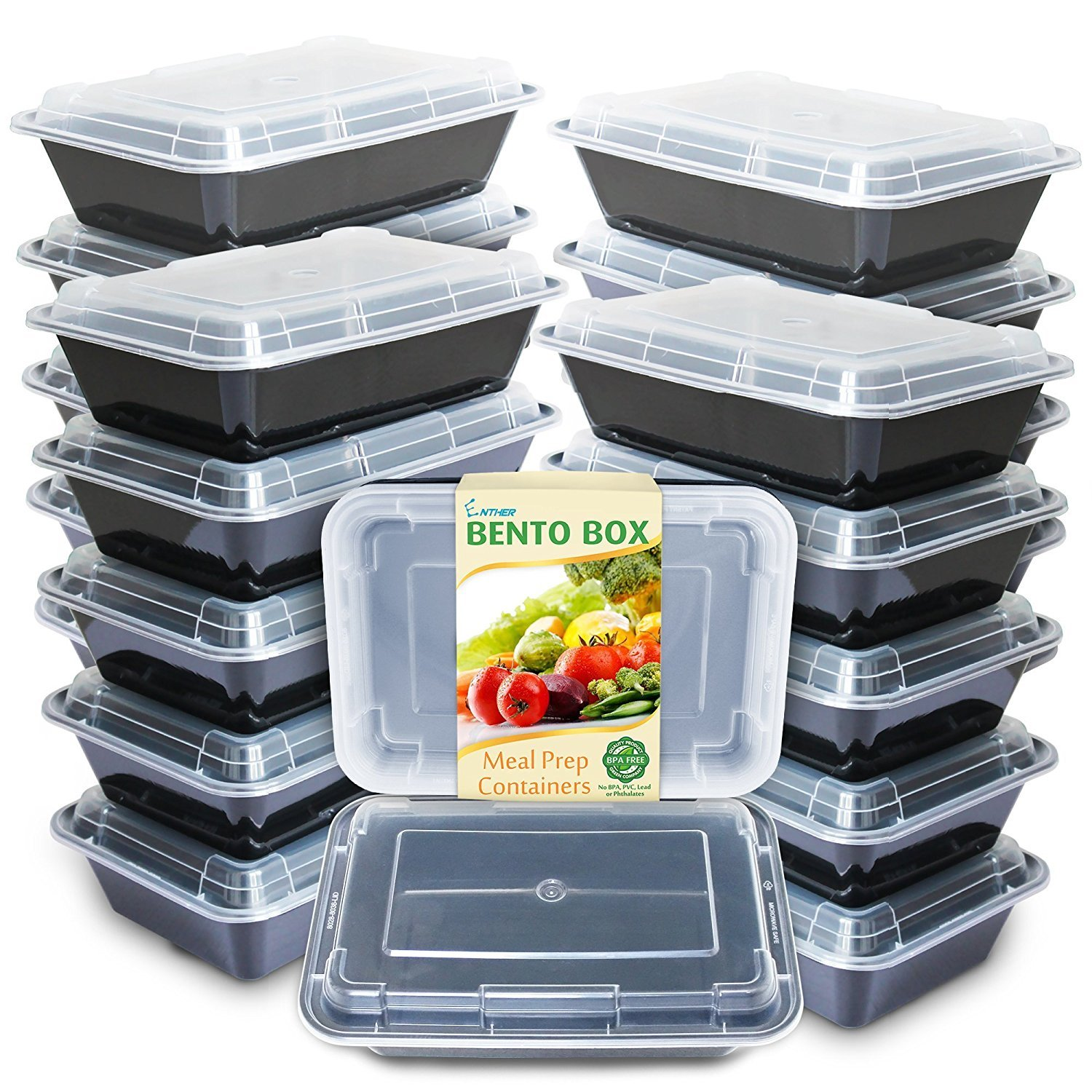 Enther Meal Prep Containers [20 Pack] Single 1 Compartment with Lids, Food Storage Bento Box | BPA Free | Stackable | Reusable Lunch Boxes, Microwave/Dishwasher/Freezer Safe,Portion Control (28 oz) by Enther