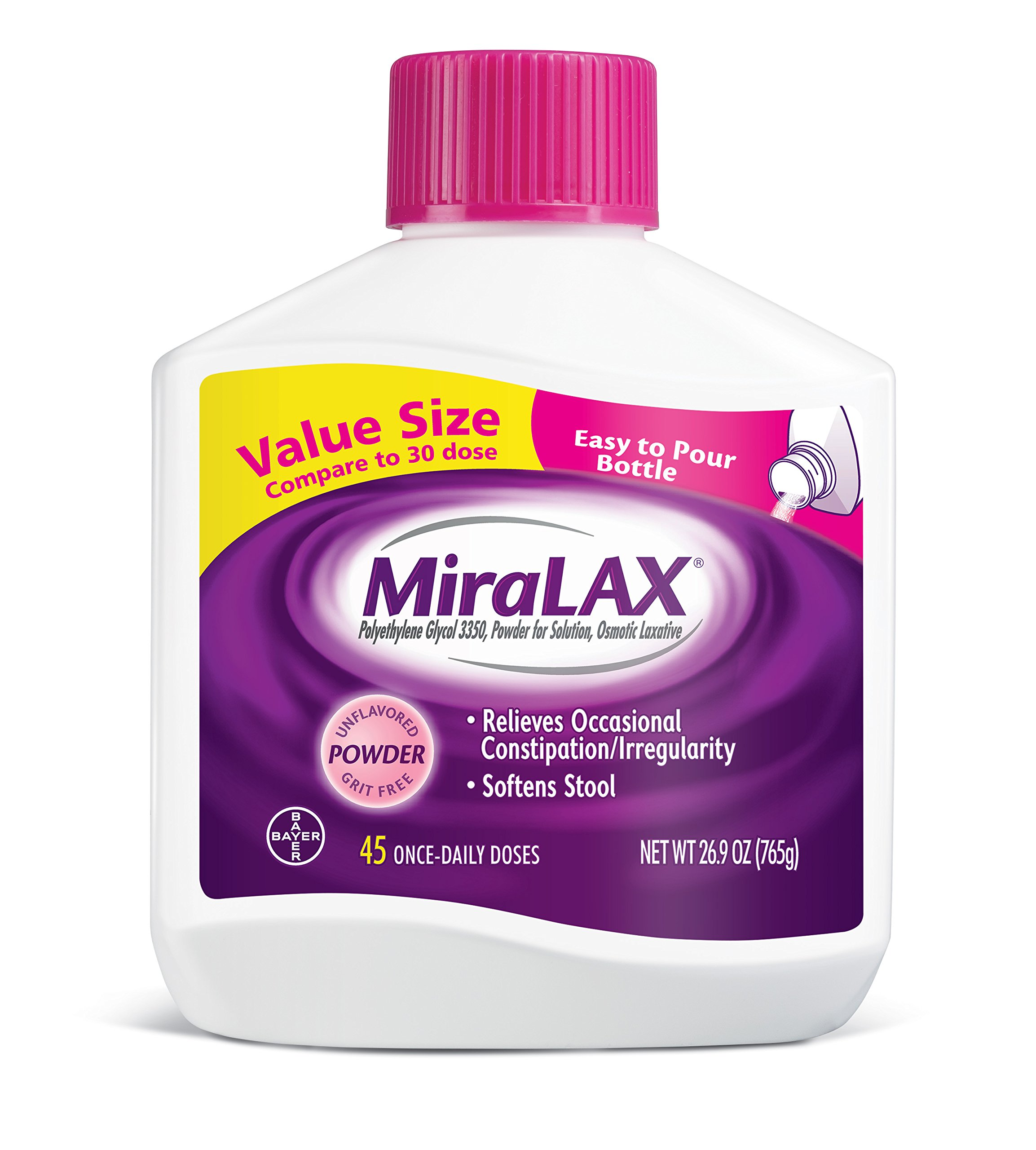 MiraLAX Laxative Powder for Gentle Constipation Relief, #1 Dr. Recommended Brand, 45 Dose Polyethylene Glycol 3350, stimulant-free, softens stool by Miralax