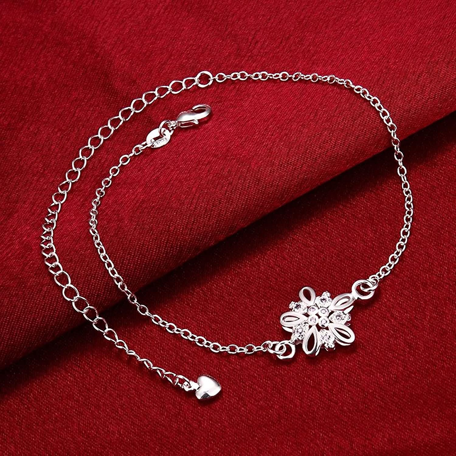 Bishilin Ankle Bracelets Native For Women Hollow Flower Cubic Zirconia anklet jewelry 2.4 CM