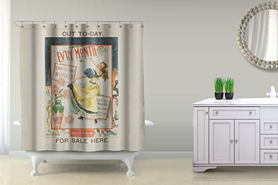 Amazon.com: Evry Month Vintage Poster (artist: Archie Gunn) c. 1896 (71x74 Polyester Shower Curtain): Home & Kitchen