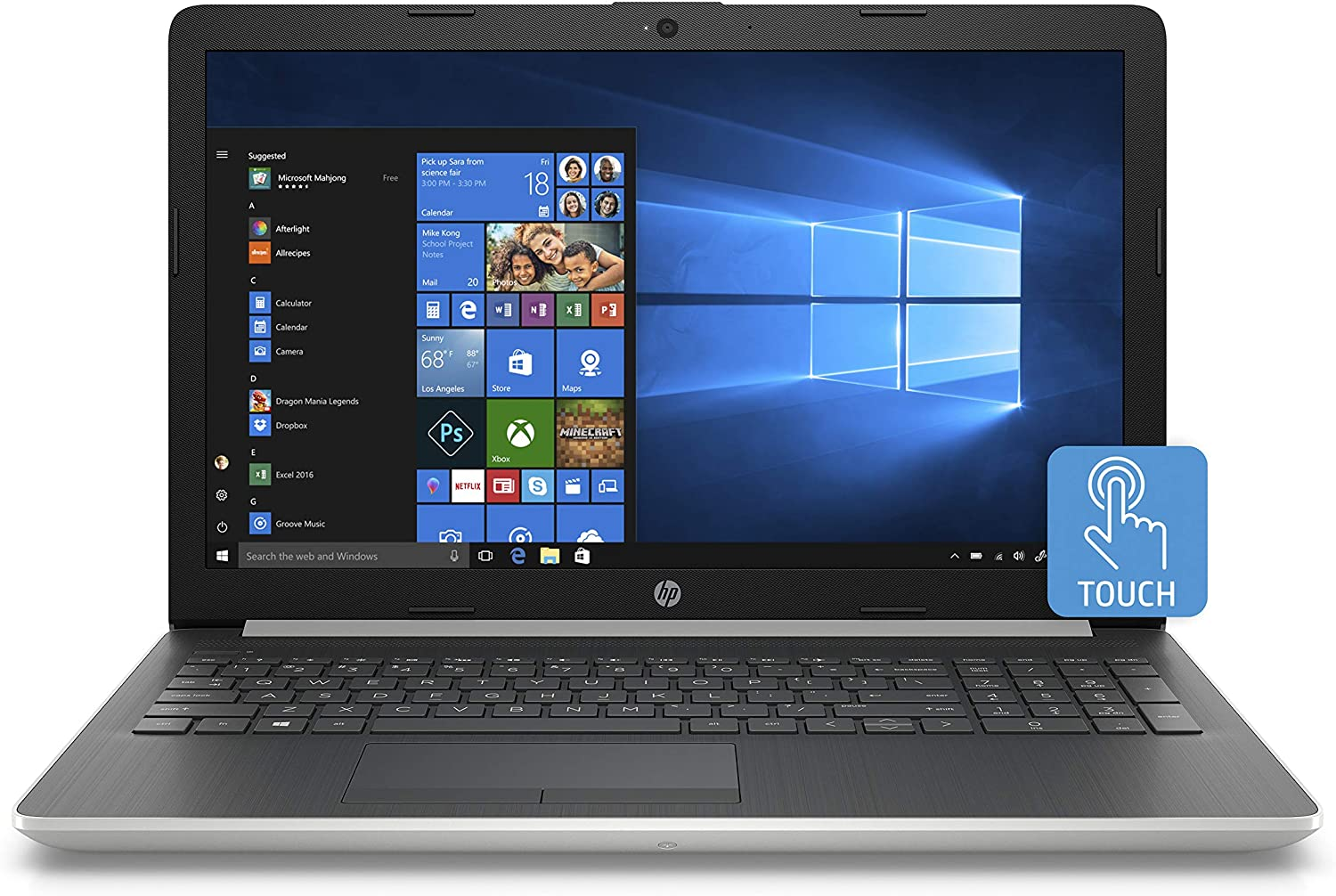 HP 15 Graphite Mist Laptop Touchscreen Intel Core i5-8250U 3.40 GHz 4GB SDRAM + 16GB Intel Optane Memory, 1TB HDD DVD, HD Webcam, Windows 10 (Renewed)