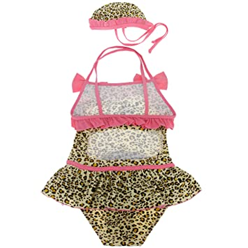 Liying New Girls Leopard Print Swimming Costume Swimwear