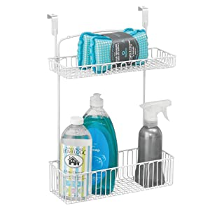 mDesign Over Cabinet Kitchen Storage Organizer Holder or Basket - Hang Over Cabinet Doors in Kitchen/Pantry - Holds Dish Soap, Window Cleaner, Sponges - Steel Wire in Matte White Finish