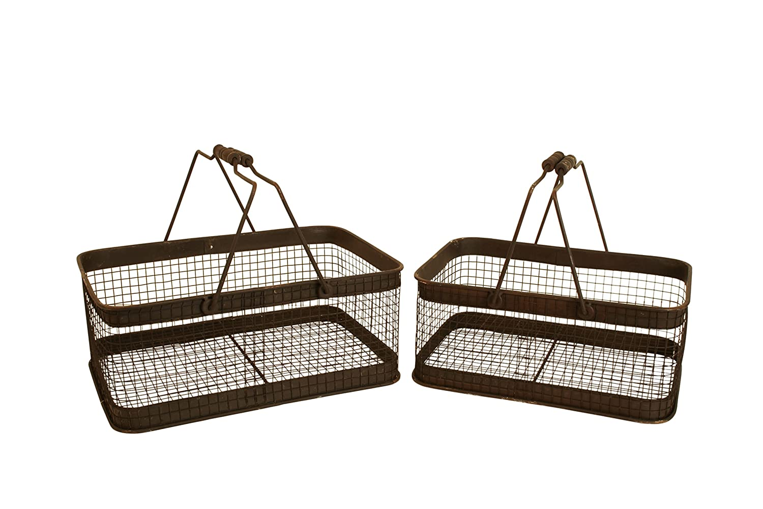 Brown Wash Metal Industrial Storage Baskets Set of 2