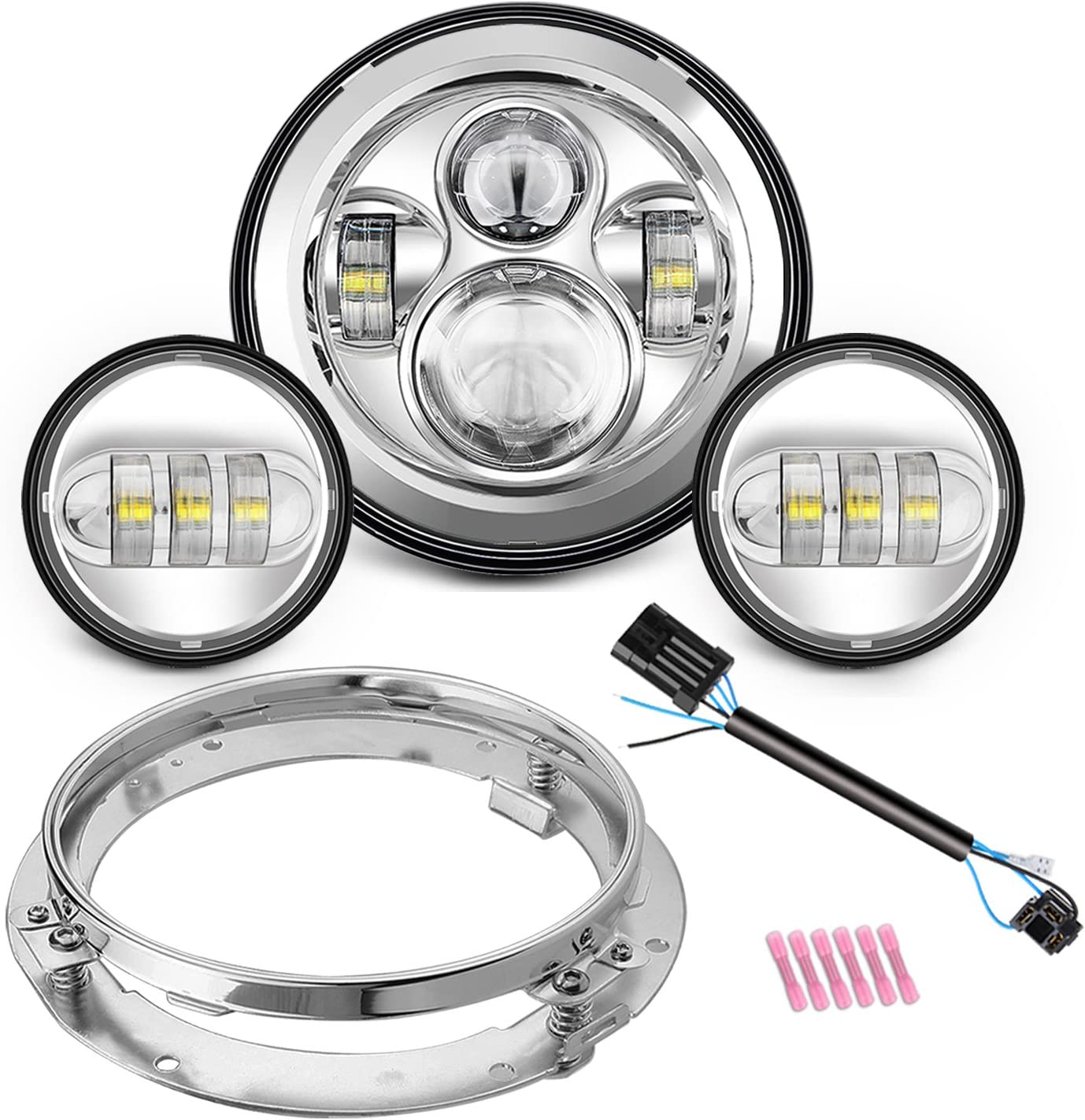 """7/"""" LED Projector Headlight Passing Lights For Harley Davidson Touring Road King"""