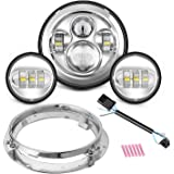 """Motorcycle 7"""" Daymaker LED Headlight for Harley Davidson Road King, Road Glide, Street Glide and Electra Glide,Ultra Limited with 4-1/2 LED Passing Lamps Fog Lights and Bracket Mounting Ring"""