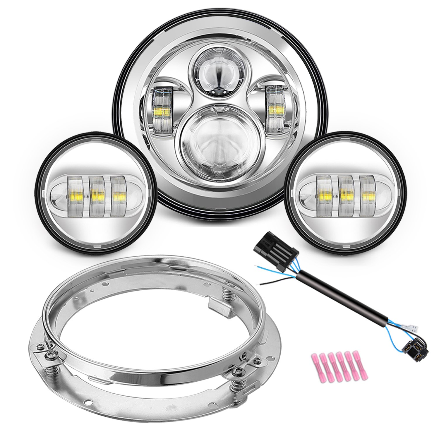 Motorcycle 7'' Daymaker LED Headlight for Harley Davidson Road King, Road Glide, Street Glide and Electra Glide,Ultra Limited with 4-1/2 LED Passing Lamps Fog Lights and Bracket Mounting Ring
