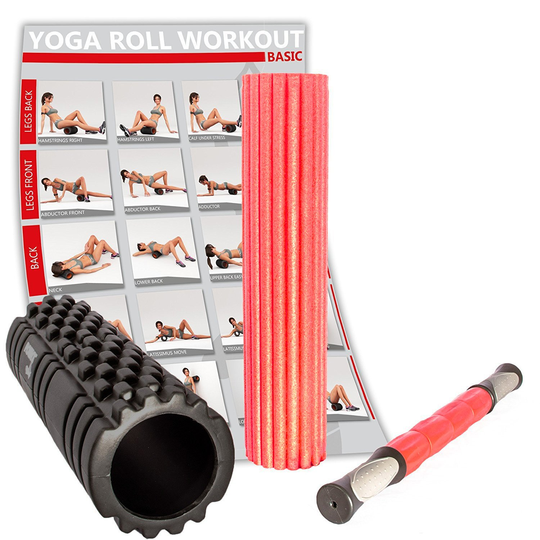 Qualit/à premium PDF workout Ottimo per trigger point Nero riabilitazione e potenziamento muscolare POWRX Foam roller Rullo da massaggio 3 in 1