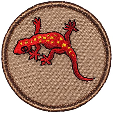 """Red Gecko Patrol Patch - 2"""" Diameter Round Embroidered Patch"""