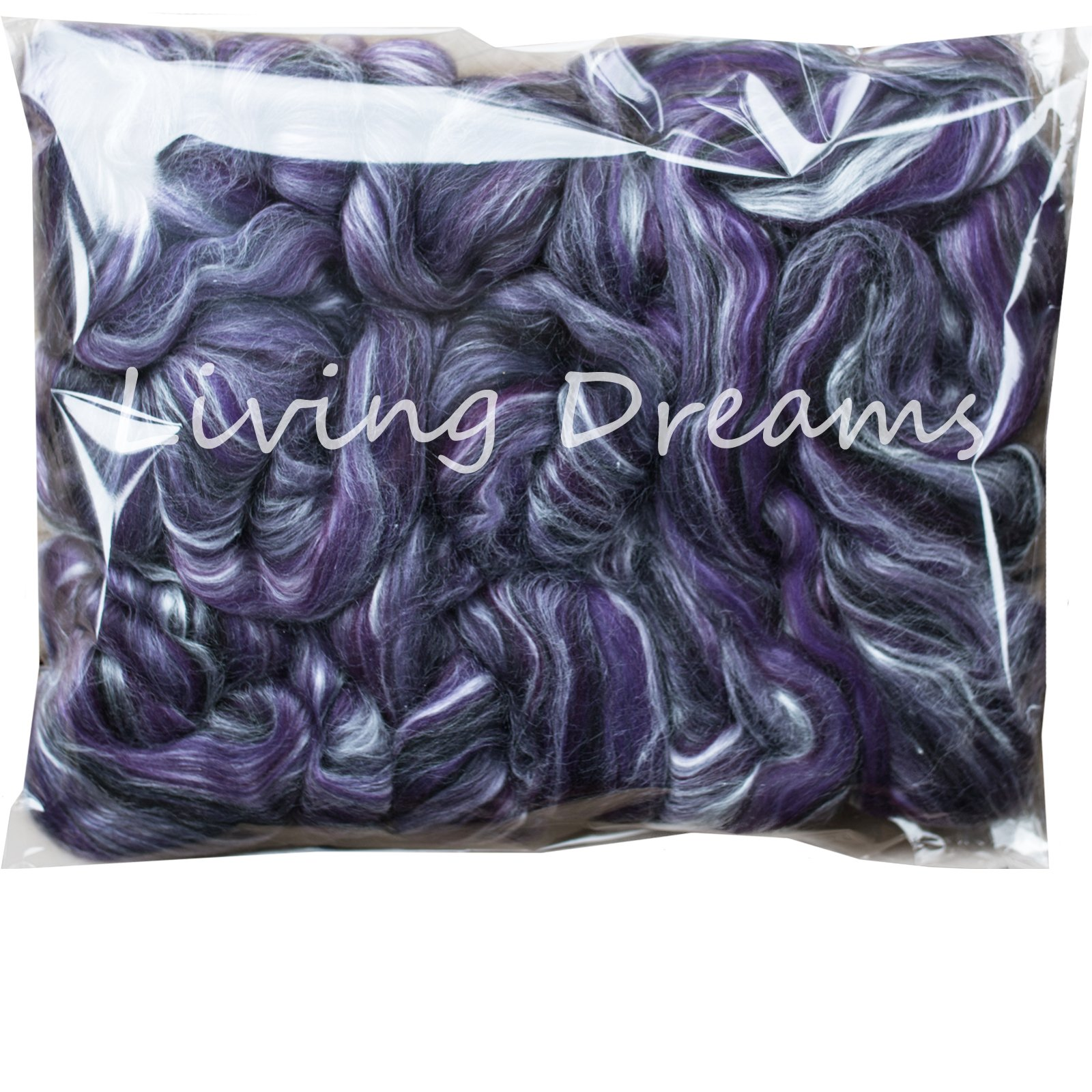 Silk Merino Fiber for Spinning. Super Soft Combed Top Wool Roving for Hand Spinning, Wet Felting, Nuno Felting, Needle Felting, Soap Making, Paper Making and Embellishments. Night Out