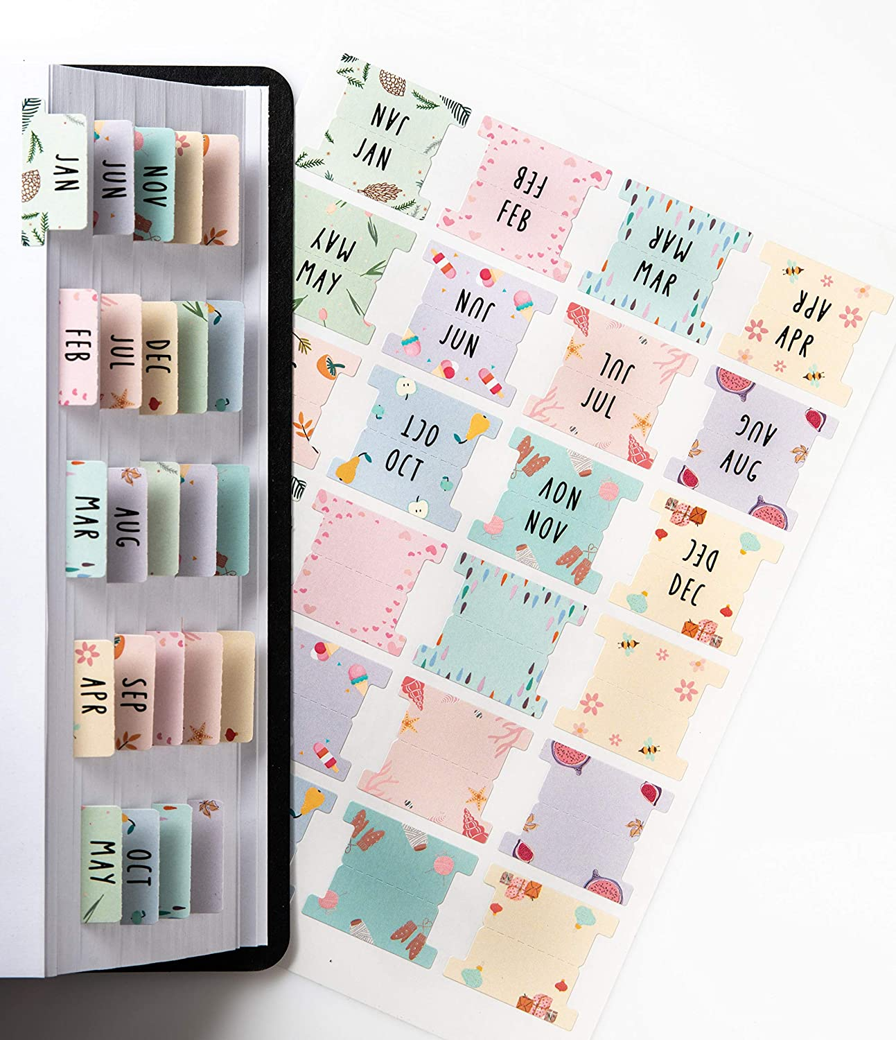 DiverseBee Laminated Planner Monthly Tabs, 24 Peel and Stick Tabs for Notebooks (12 Month Tabs and 12 Blank Tabs), Calendar Monthly Tab Stickers for Planners, Monthly Dividers (Assorted): Office Products