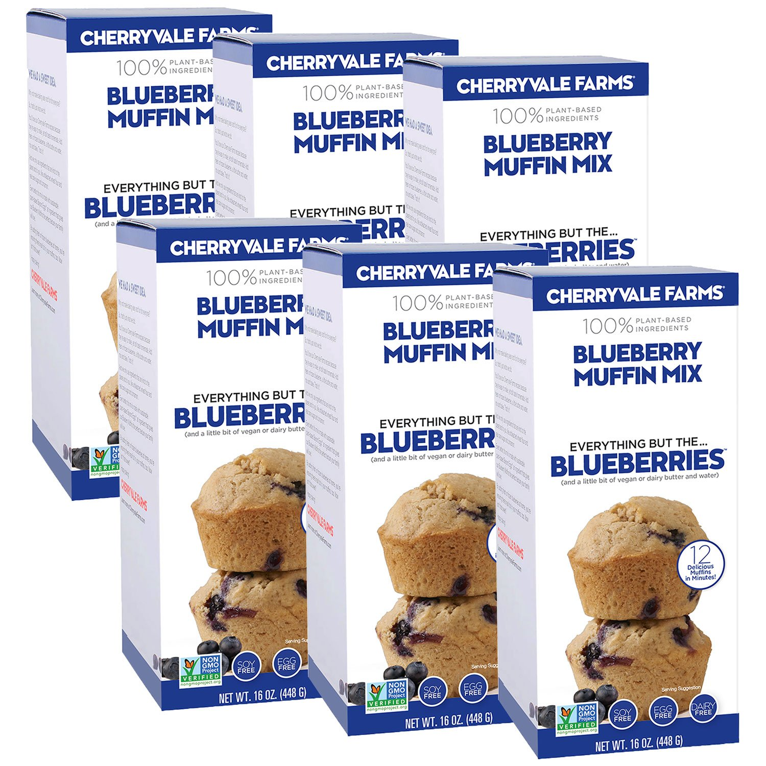 Cherryvale Farms, Blueberry Muffin Baking Mix, Everything But The Blueberries, Add Fresh Produce, Tastes Homemade, Non-GMO, Vegan, 100% Plant-Based, 16 oz (pack of 6) by CHERRYVALE FARMS (Image #1)