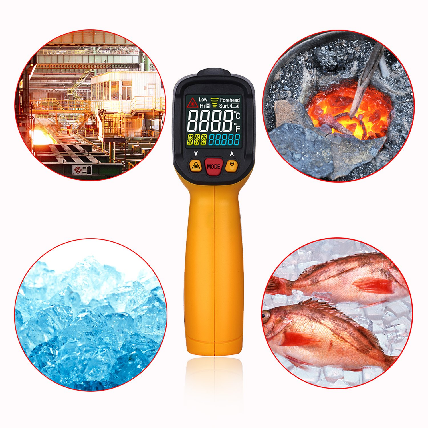 Digital Infrared thermometer Peakmeter PM6530A Laser IR Temperature Gun LCD for Kitchen Cooking Automotive with Temperature Bridge Alarm Function Display -58°F~572°F(-50°C~300°C) by uvcetech (Image #4)