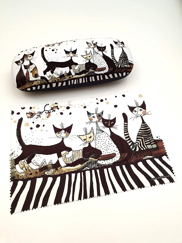 Fridolin Brillenetui Set Hardcase Cats Sepia Rosina Wachtmeister Brillenetui Mit Brillenputztuch Küche Haushalt