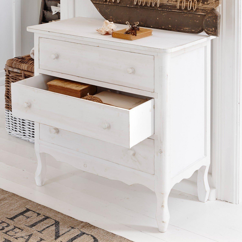 Paulownia MDF Loberon Commode Hopewell Blanc Vieilli H//L//P env 71.5//75 // 38 cm