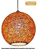 Salebrations 20 cm Dia Orange Hanging Ball Lamp Shade With Yarn And Led Bulb