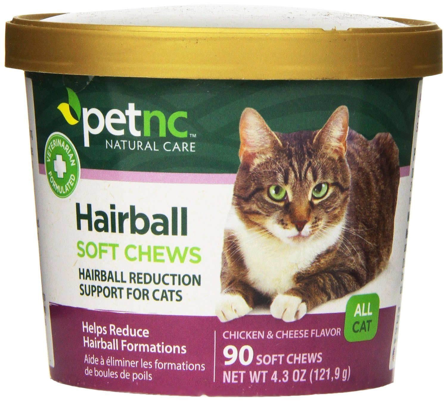 2 Pack of 90 Ct PetNC Natural Care Hairball Soft Chews for Cats, 90 Count (Pack of 2)