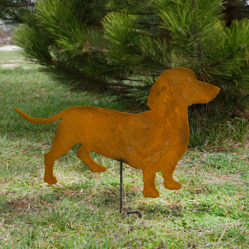 Rusted metal Dachshund Wiener dog on a stick Wiener Dog metal garden stake Dachshund metal yard stake Dachshund outdoor home decor