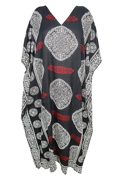 937c3d168e Image Unavailable. Image not available for. Color: Mogul Interior Women Black  Kimono Kaftan Maxi Dress Printed ...