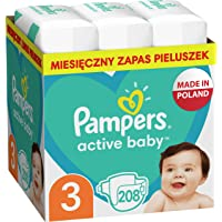 Pampers Active Baby Pieluszki, rozmiar 3, 208 pieluszek, ochrona przed przeciekaniem przez całą dobę, 6kg-10kg