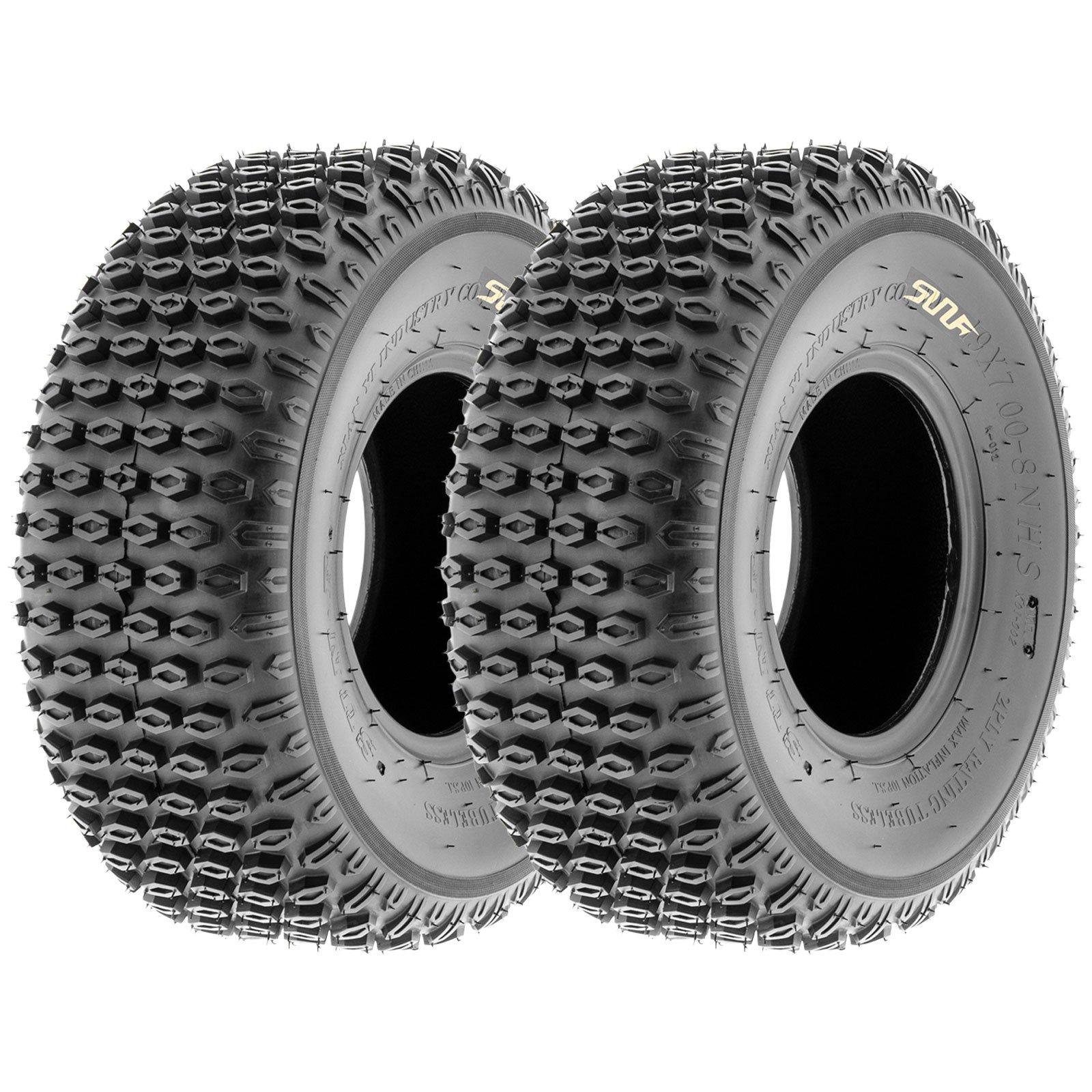 Set of 2 SunF A012 XC Sport-Racing ATV/UTV Off-Road Tires 19x7-8, 6PR, Knobby Tread