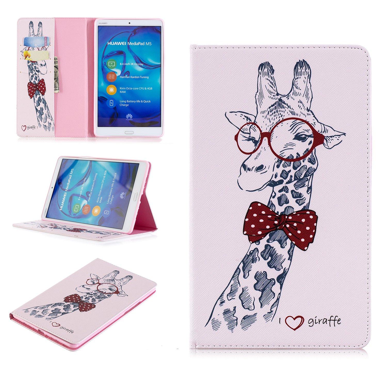 Tophung Huawei Mediapad M5 8.4 Funda de piel sintética a prueba de golpes Funda tipo cartera con soporte cierre magnético ranura para tarjeta de crédito Soporte Cash Pocket Protective Cover para Huawei Mediapad M5 8.4 pulgadas Tablet, Blue Butterfly