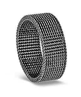 Milo Bruno 8MM Stainless Steel Mesh Ring (Graphite) - 11