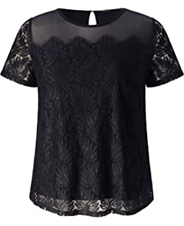 ecfea6d22e023 Chicwe Women s Plus Size Stretch Dot Mesh Jumper Blouse - Casual and ...