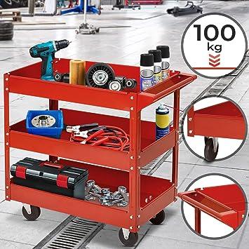 New Heavy Duty 3 Tier Shelf Tool Cart Storage Trolley Workshop DIY Wheel Rack