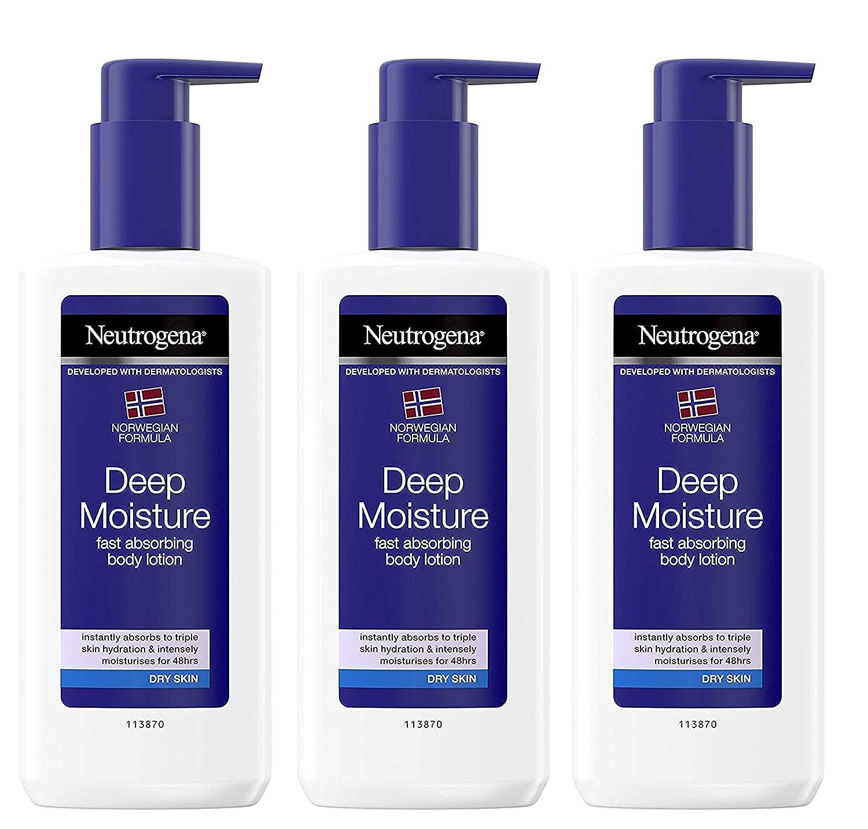 Neutrogena Norwegian Formula Deep Moisture Fast Absorbing Body Lotion for Dry Skin, 8.45 Ounce (Pack of 3)
