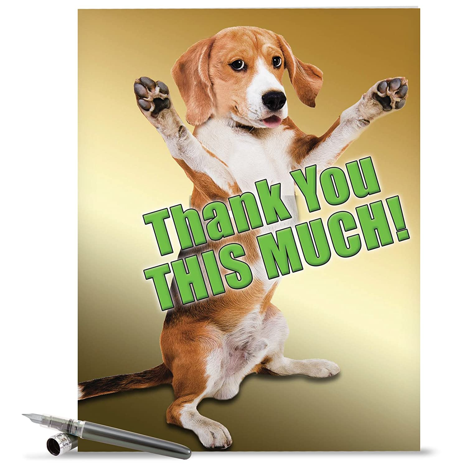 amazoncom j2232tyg jumbo funny thank you card this much dog with envelope extra large version 85 x 11 office products
