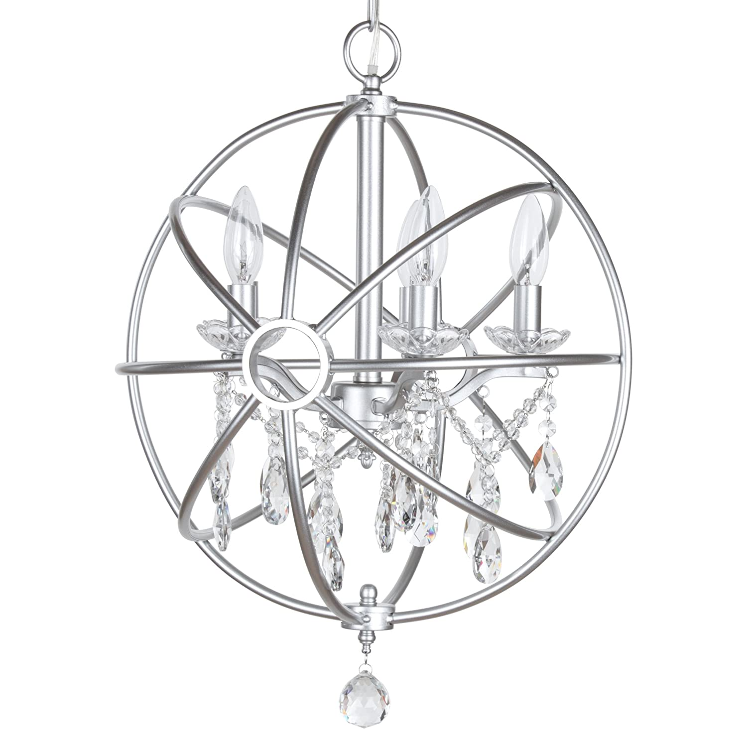 Luna collection modern orb crystal swag chandelier with 5 lights sphere glass pendant ceiling lighting fixture silver