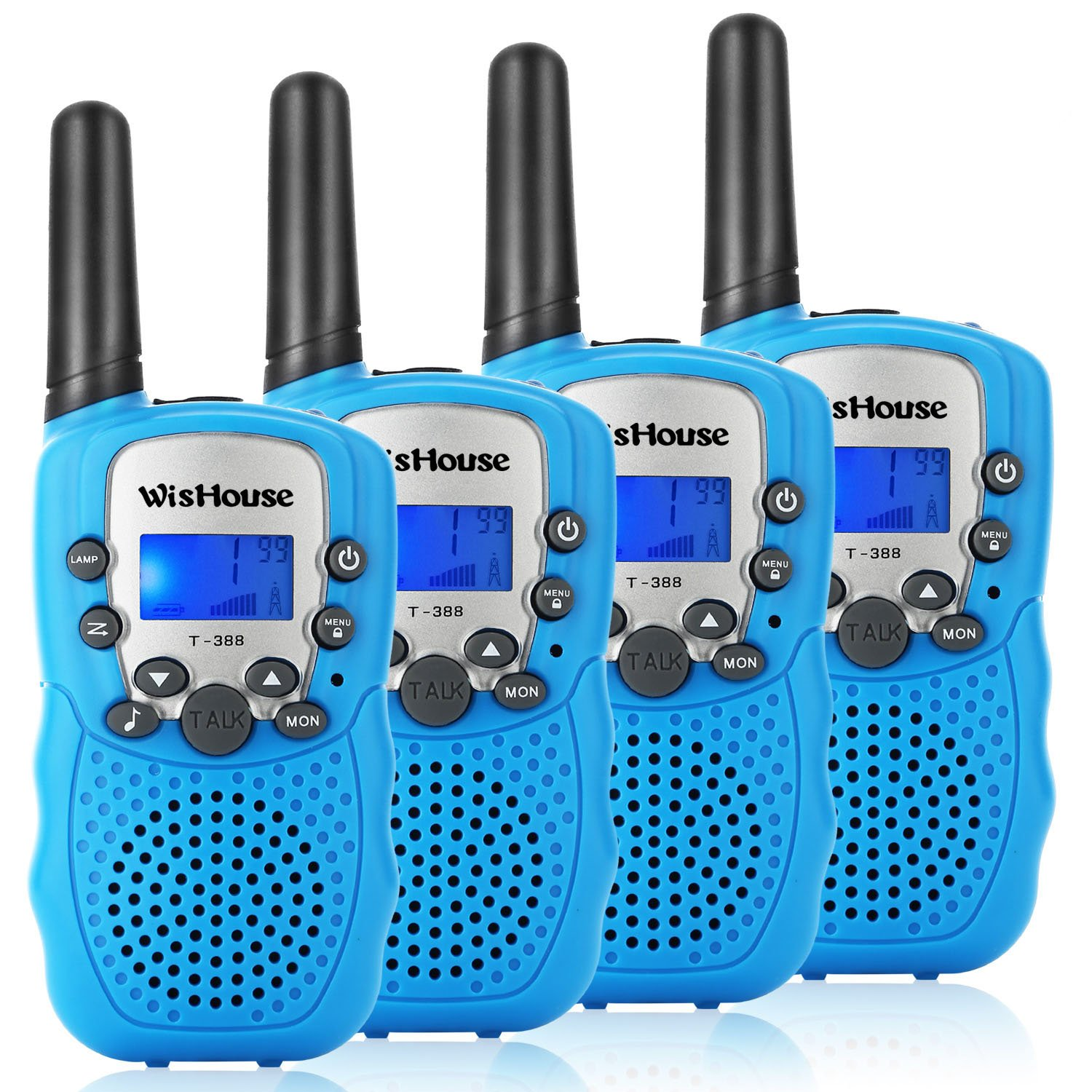 WisHouse Walkie Talkies for Kids,Fashion Toys for Boys and Girls Best Handheld Two Way Radio with Flashlight for 4 Year Old and up to Camping Hiking Riding and Cruise Ship(T388 Blue 4 Pack)