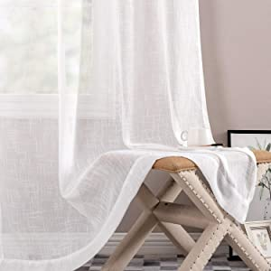 jinchan Sheer Window Curtains for Bedroom Linen Textured White Curtain Panels for Living Room 95 inch LengthRod Pocket 2 Panels