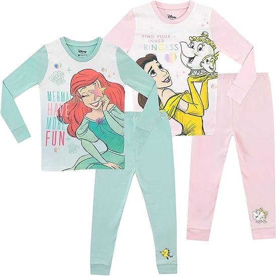 2er Pack Disney Ariel and Belle Pyjama bequeme Passform f/ür M/ädchen