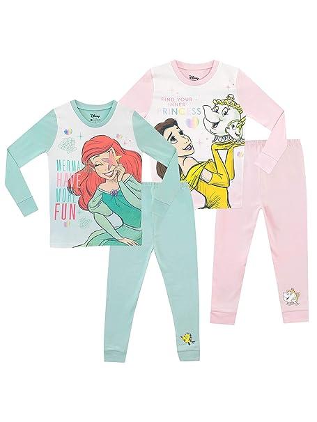 Disney Pijamas para Niñas 2 Paquetes Ajuste Ceñido Ariel y Belle: Amazon.es: Ropa y accesorios