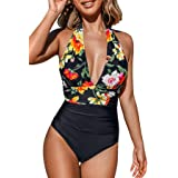 CUPSHE Women's One Piece Swimsuit Halter Plunge Neck Ruched Tummy Control Bathing Suits