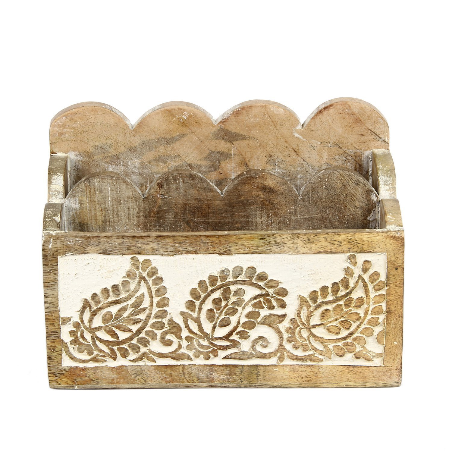 Design1 Icrafts India Wooden Desktop Letter Rack Mobile Display Stand Holder Organizer with 2 Sections Handmade|