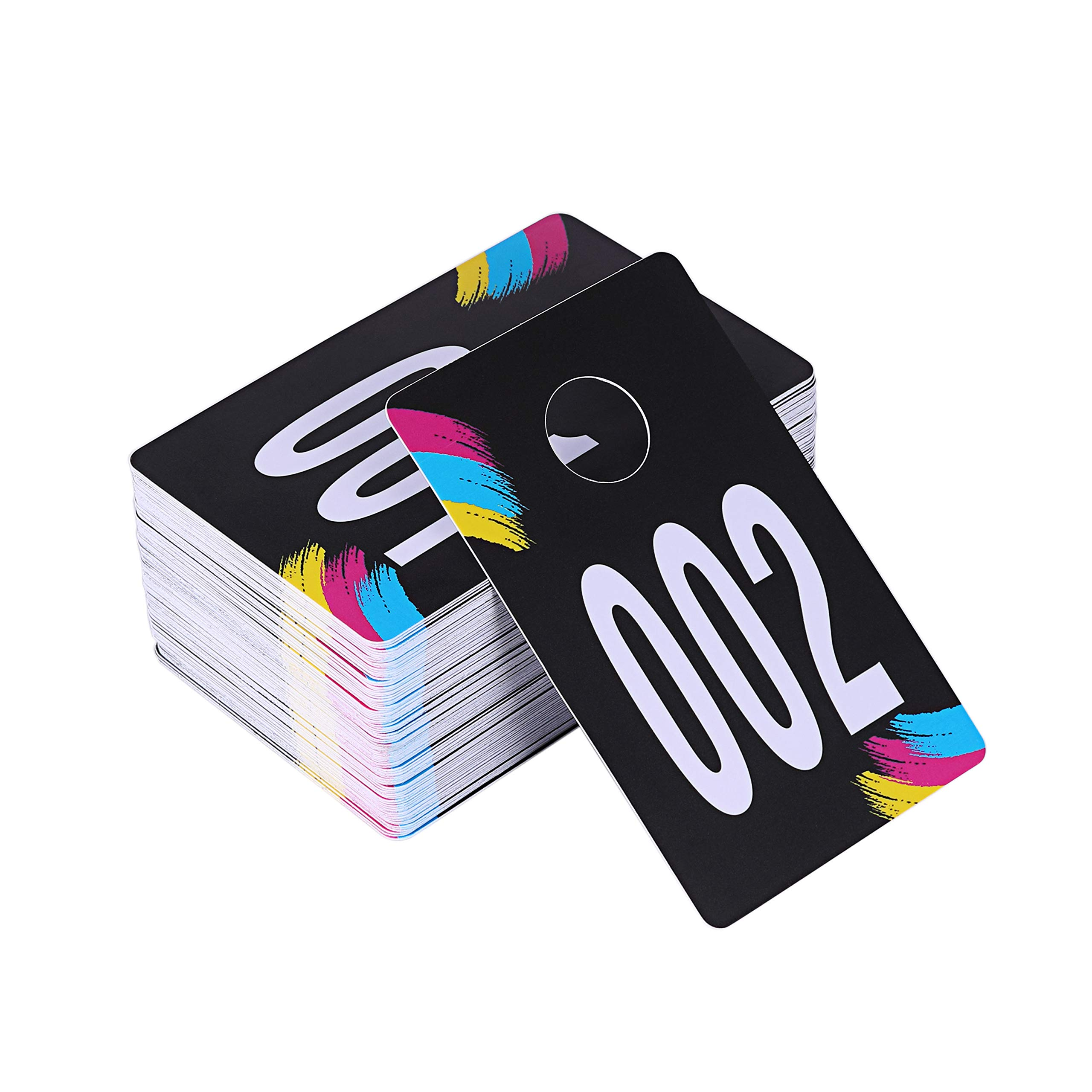 SUKIRA Live Sale Plastic Number Tags, Normal and Reverse Mirror Image Coat Room Checks for Facebook Live Sale, Reusable Lularoe Supplies, Hanger Cards for Clothes, 100 Consecutive Numbers, (001-100)