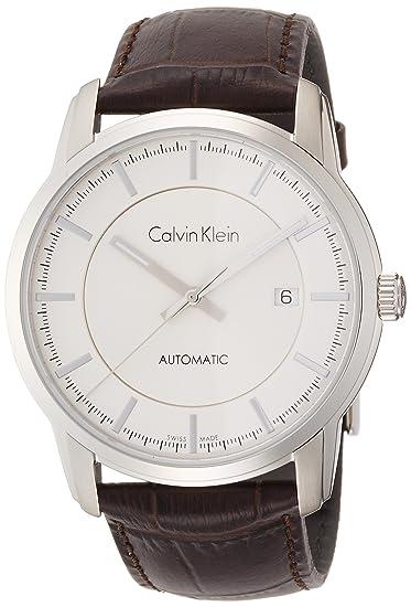 Calvin Klein Reloj Analogico para Hombre de Automático con Correa en Cuero K5S341G6: Amazon.es: Relojes