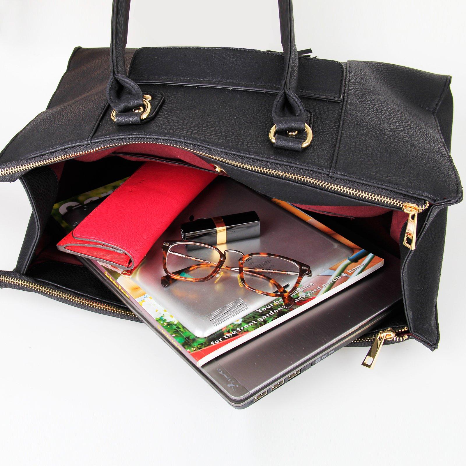 Eva & Evan 2018 New Women Satchel Handbags Shoulder Bag with Tassels Top Handle Large PU Leather Adjustable Strap Black by BAYTTER (Image #8)