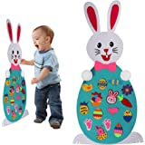 Easter Decorations Felt Bunny DIY Easter Bunny with 15 Pcs Ornaments Wall Decor with Hanging Rope for Kids Easter Gifts Home Door Easter Decoration (Type 1)