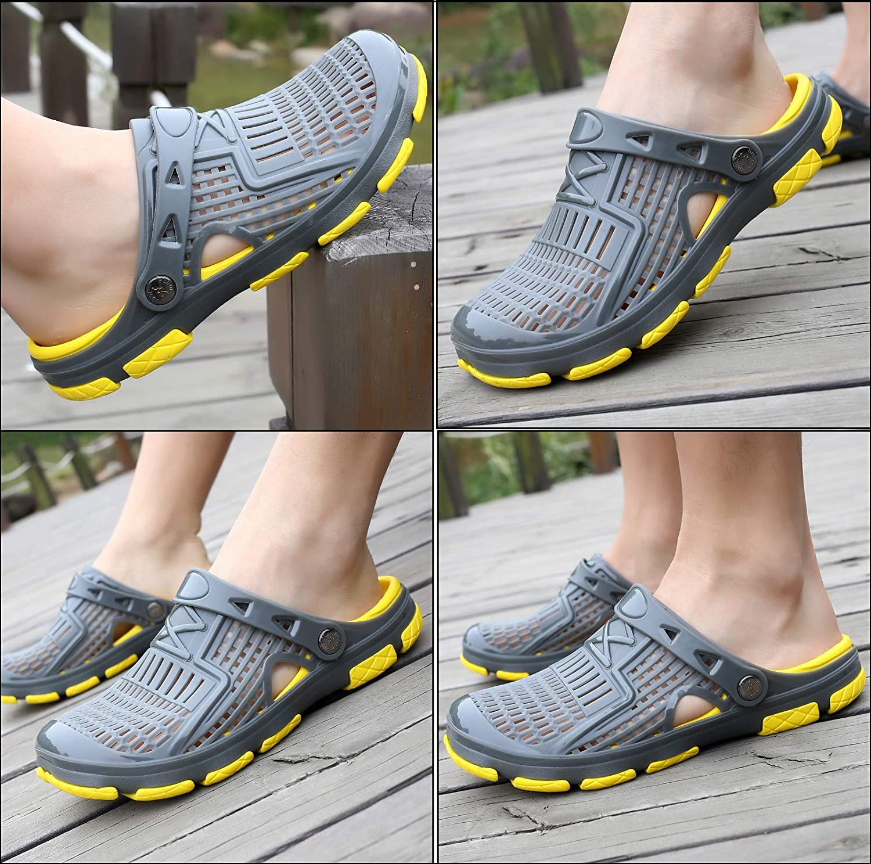 Mules Homme Sabots Plastique Respirant Chaussures de Jardin D/Ét/é Chaussures de Plage Piscine Pantoufles Sandales Anti-Glissement Chaussons 40-45 EU